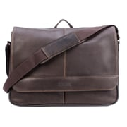 Kenneth Cole Risky Business Colombian Leather Messenger Bag, Brown (KC52454117)