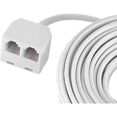 GE 25' Line Cord with Duplex Extension, White