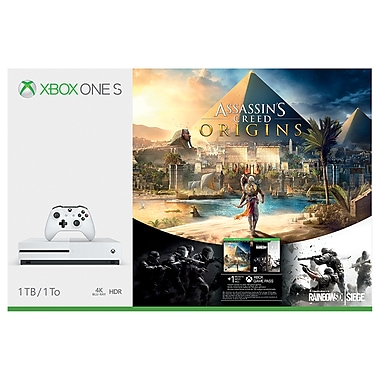 Xbox One S 1TB Console with Assassin's Creed Origins & Rainbow Six Siege Bundle