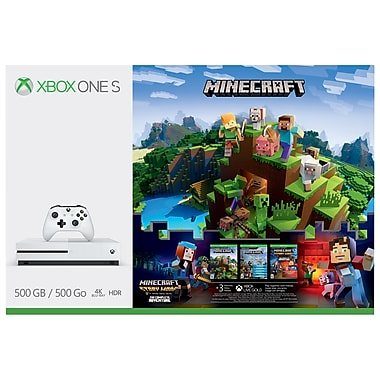 Xbox One S 500GB Console Minecraft Complete Adventure Bundle