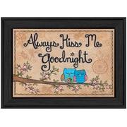 "TrendyDecor4U ""Always Kiss Me Good Night"" 20""x14"" Black Frame Wall Art Print by  Annie LaPointe (ALP1006-405)"