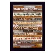 "TrendyDecor4U Man Cave Rules -8.5""x12.25"" Framed Print (MA1077B-712)"