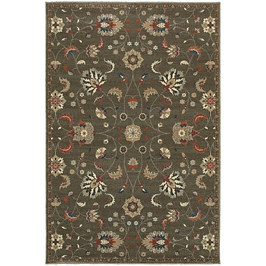Charlton Home Derrymore Gray/Orange Area Rug; Rectangle 5'3'' x 7'6''