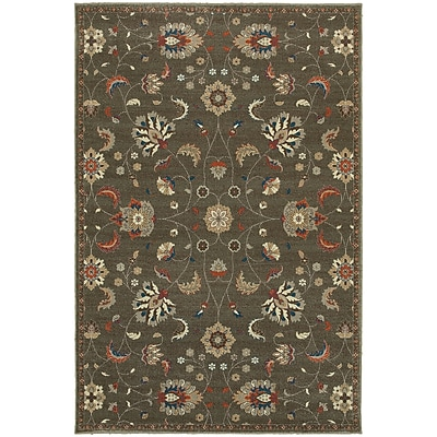 Charlton Home Derrymore Gray/Orange Area Rug; Rectangle 3'10'' x 5'5''