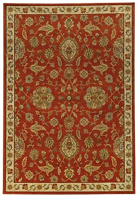 Charlton Home Dewolf Red/Beige Area Rug; Rectangle 3'10'' x 5'5''