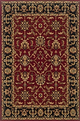 Charlton Home Currahee Red/Black Area Rug; Rectangle 6'7'' x 9'6''
