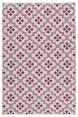 Charlton Home Covington Cream/Purple Indoor/Outdoor Area Rug; Rectangle 5' x 7'6''