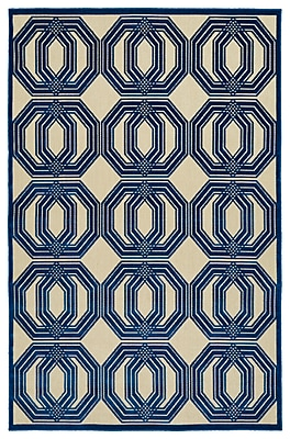 Charlton Home Covedale Navy Indoor/Outdoor Area Rug; Rectangle 8'8'' x 12'