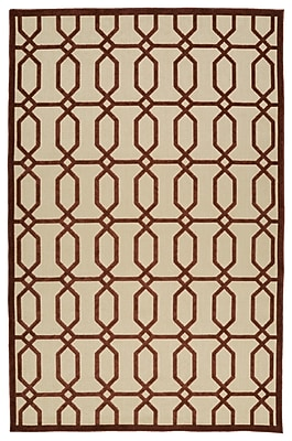 Charlton Home Covedale Terracotta & Cream Indoor/Outdoor Area Rug; 3'10'' x 5'8''