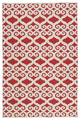 Charlton Home Covington White/Red Indoor/Outdoor Area Rug; Rectangle 8' x 10'