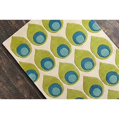 Corrigan Studio Willa Hand Tufted Wool Green/Blue Area Rug; 5' x 7'6''