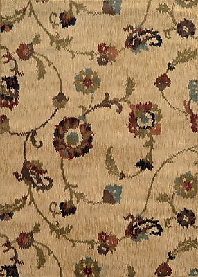 Charlton Home Dogwood Tan/Gray Area Rug; Rectangle 5'3'' x 7'6''