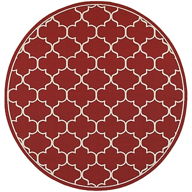 Charlton Home Duncan Red/Ivory Indoor/Outdoor Area Rug; Round 7'10''