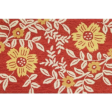 Charlton Home Dellroy Coral Floral Rug