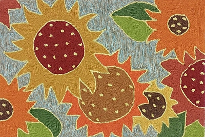 Charlton Home Dellroy Sunflower Impression Multi Indoor/Outdoor Area Rug
