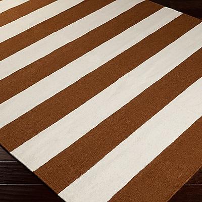 Charlton Home Atkins Sepia/White Striped Area Rug; 3'6'' x 5'6''