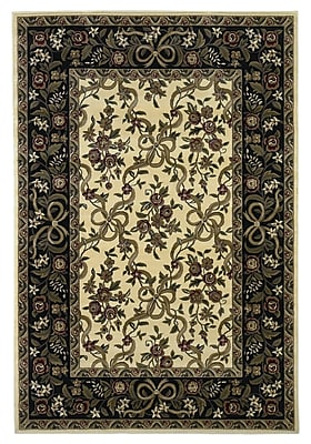 Charlton Home Bellville Ivory/Black Floral Area Rug; Rectangle 3'3'' x 4'11''