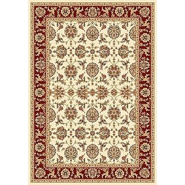 Charlton Home Bellville Kashan Ivory/Red Rug; Rectangle 1'8'' x 2'7''