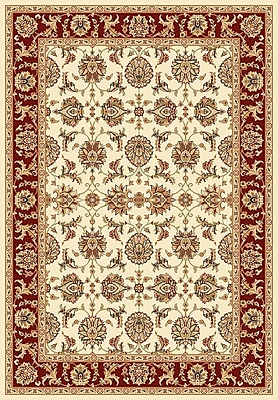 Charlton Home Bellville Kashan Ivory/Red Rug; Rectangle 5'3'' x 7'7''