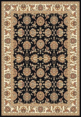 Charlton Home Bellville Kashan Black & Ivory Area Rug; Rectangle 7'7'' x 10'10''