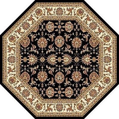 Charlton Home Bellville Kashan Hand-Woven Black/Ivory Area Rug; Octagon 7'7''