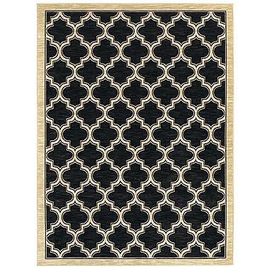 Charlton Home Mishawaka Geometric Black Area Rug; 7'10'' x 10'10''