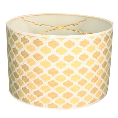 RoyalDesigns Two-Tone Mediterraneanesque Designer Hard Back 10'' Paper Drum Lamp Shade; Beige/Yellow