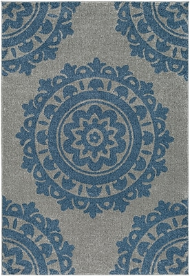 Charlton Home Bickerstaff Bright Blue/Medium Gray Area Rug; 5'3'' x 7'6''
