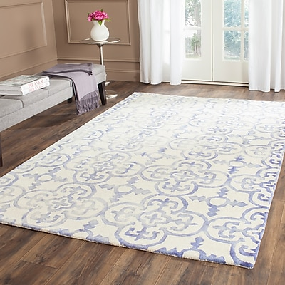 Alcott Hill Carter Hand-Tufted Ivory/Blue Area Rug; Rectangle 3' x 5'
