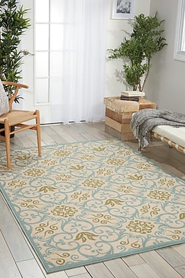 Alcott Hill Carleton Ivory/Blue Indoor/Outdoor Area Rug; Rectangle 3'9'' x 5'9''