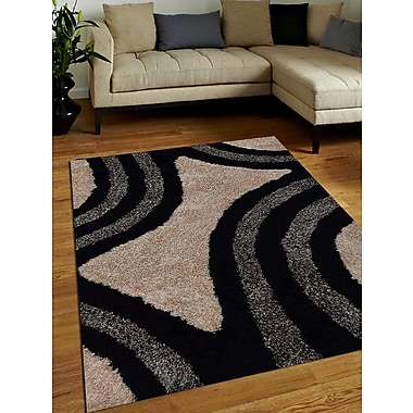 Get My Rugs Hand-Tufted Black/Ivory Area Rug; 4' x 6'