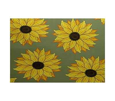 August Grove Eulalia Sunflower Power Flower Print Green Outdoor Indoor/Outdoor Area Rug; 3' x 5'