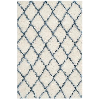 Brayden Studio Armstead Ivory/Blue Area Rug; Rectangle 3'3'' x 5'3''