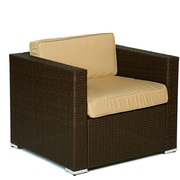 W Unlimited Wicker 5 Piece Patio Deep Seating Group w/ Cushions and Umbrella; Dark Brown