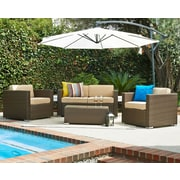 W Unlimited Wicker 5 Piece Patio Deep Seating Group w/ Cushions and Umbrella; Light Brown