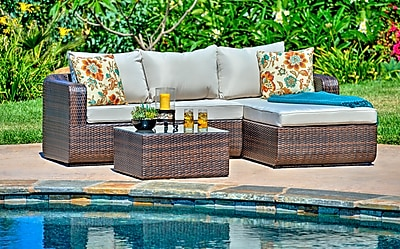 W Unlimited Luise 3 Piece Outdoor Wicker Sectional Seating Group w/ Cushions; Dark Brown
