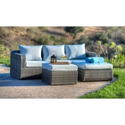 W Unlimited Luise 3 Piece Outdoor Wicker Sectional Seating Group w/ Cushions; Light Brown