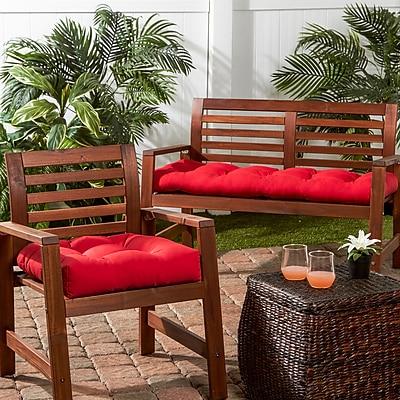 Greendale Home Fashions Outdoor Sunbrella Bench Cushion; Jockey Red