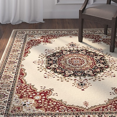 Astoria Grand Clarence Ivory/Red Area Rug; Round 5'3''