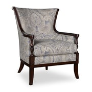 Canora Grey Marylhurst Linen Carved Wood Armchair