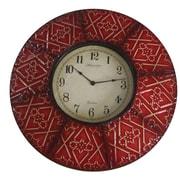 World Menagerie 8 Paneled Clock; Red/Cream