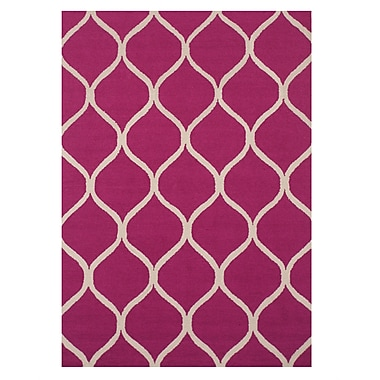 Eastern Rugs Moroccan Wool Traditional Trellis Hand-tufted Pink Area Rug