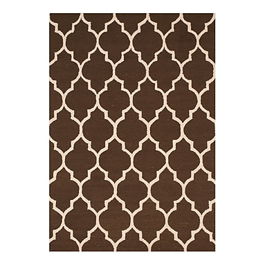 Eastern Rugs Moroccan Wool Traditional Trellis Hand-Tufted Brown Area Rug