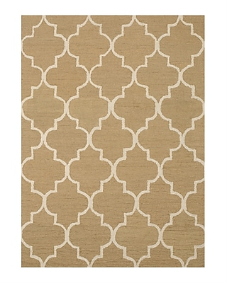 Eastern Rugs Moroccan Wool Traditional Trellis Hand-Tufted Light Gold Area Rug