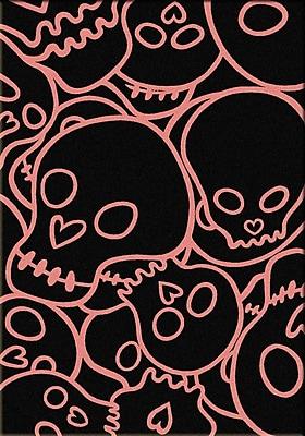 American Dakota Motorhead Head Banger Pink Area Rug; Rectangle 8' x 11'