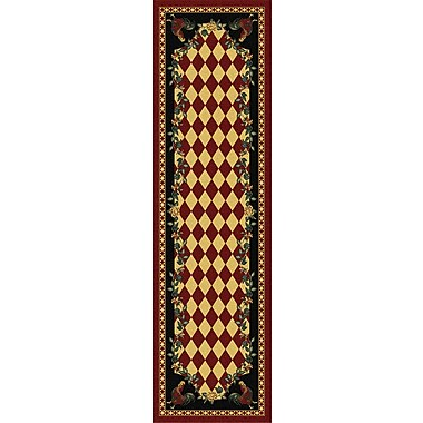 American Dakota Novelty High Country Rooster Red/Green Area Rug; Runner 2' x 8'
