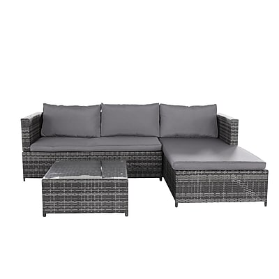 Magari PE Wicker Rattan Pool Patio Garden 3 Piece Sectional Seating Group w/ Cushion WYF078280510040