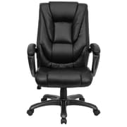 Red Barrel Studio Brookline High-Back Leather Executive Chair; Black Executive Leather