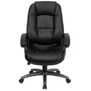 Red Barrel Studio Brookline High-Back Leather Executive Chair; Black Leather