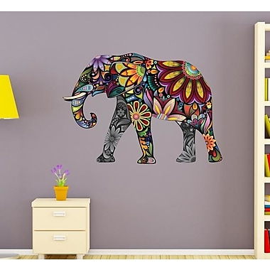 Style and Apply Flower Elephant Wall Decal; 11'' H x 16'' W
